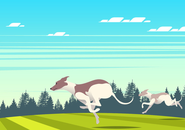 Running Whippet Dog Scene Vector - бесплатный vector #445907