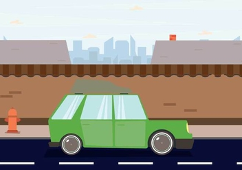 Station Wagon Parked Downtown Illustration - Kostenloses vector #445987
