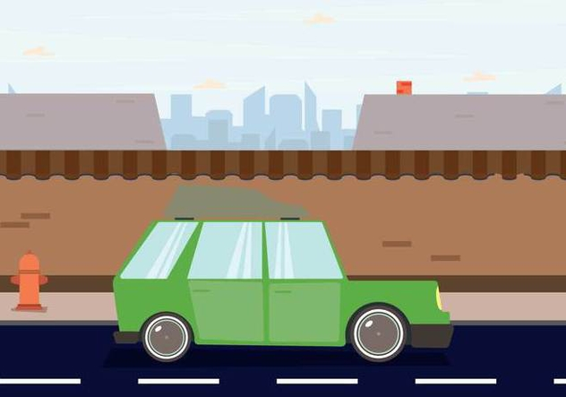 Station Wagon Parked Downtown Illustration - бесплатный vector #445987