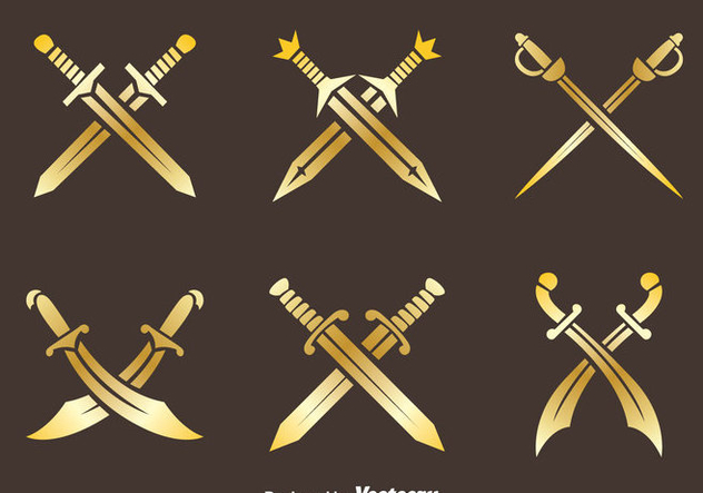 Golden Cross Sword Vectors - vector gratuit #446027