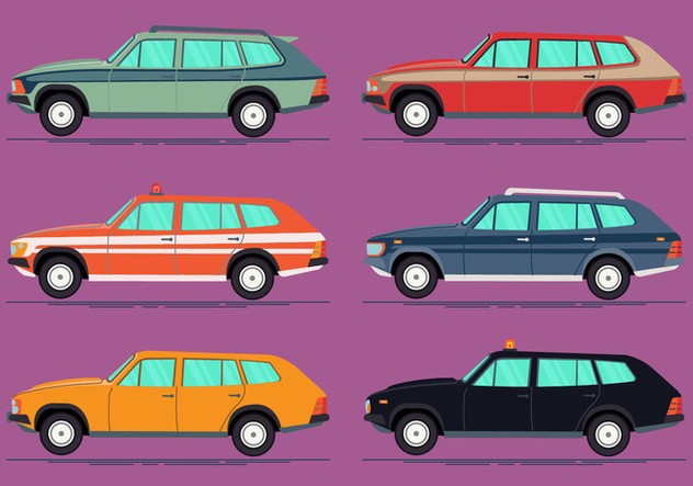 Colorful Station Wagon Vector Collection - vector gratuit #446047