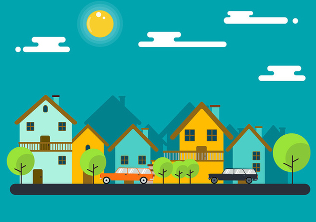 Neighborhood with Station Wagon Vector - vector gratuit #446057