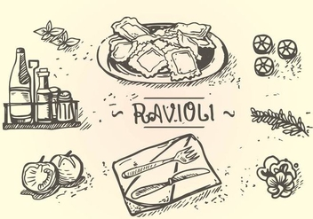 Ravioli Menu Hand Drawing - Kostenloses vector #446257