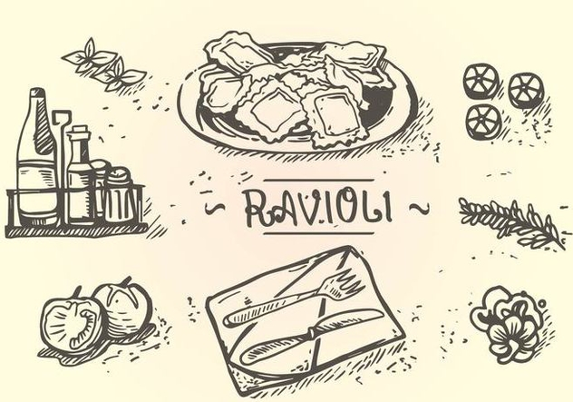 Ravioli Menu Hand Drawing - Free vector #446257