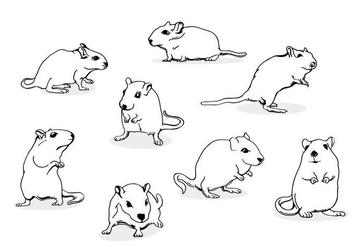 Gerbil Mouse Line Art - бесплатный vector #446267
