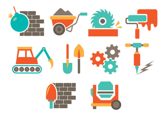 Demolition Icon Set - vector #446377 gratis