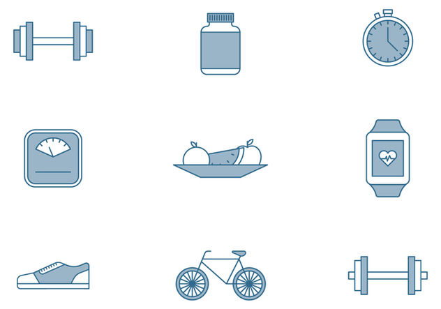 Fitness Elements Icons - vector #446387 gratis