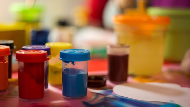 Cans of colorful paints - бесплатный image #448197