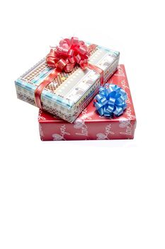 Decorated gift boxes on white background - Free image #452547