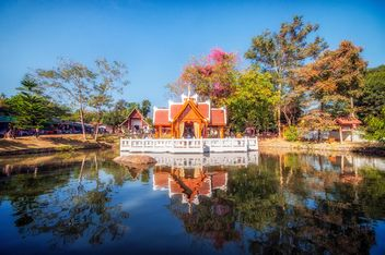 temple in thai reflection in the water - Free image #452587
