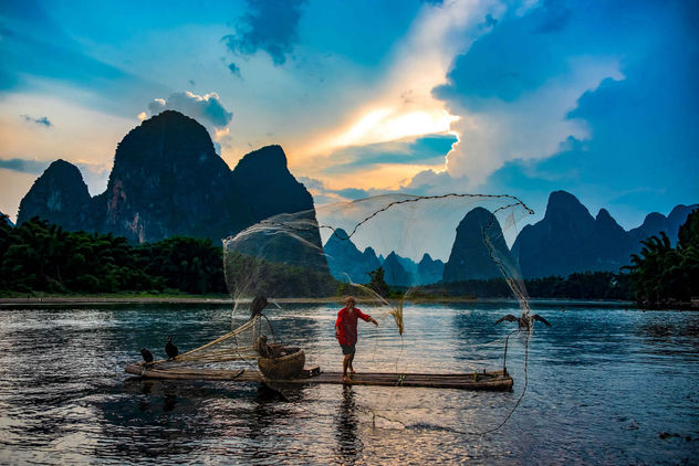 Cormorant Fisherman on the Li River - Kostenloses image #455957