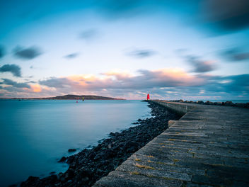 Poolbeg lighthouse at sunset - Dublin, Ireland - Seascape photography - Free image #456907