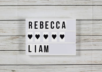 Lightbox with names rebecca and liam - image gratuit #457317