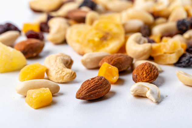 Dried fruits and different nuts on white background - Kostenloses image #460567