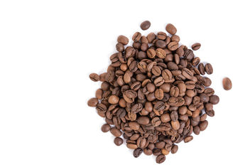 Top view of Raw Coffee isolated above white background - бесплатный image #462307