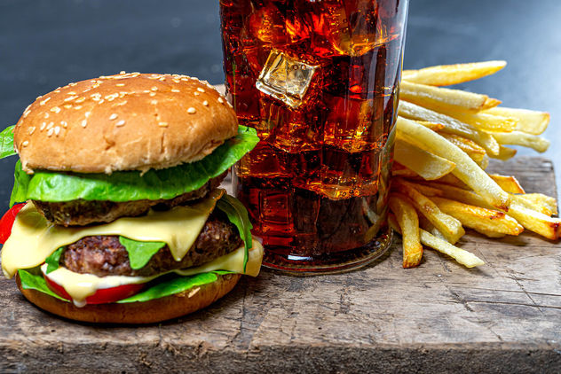 Glass of Cola with ice, French fries and Burger close-up (Flip 2019) - image #464067 gratis